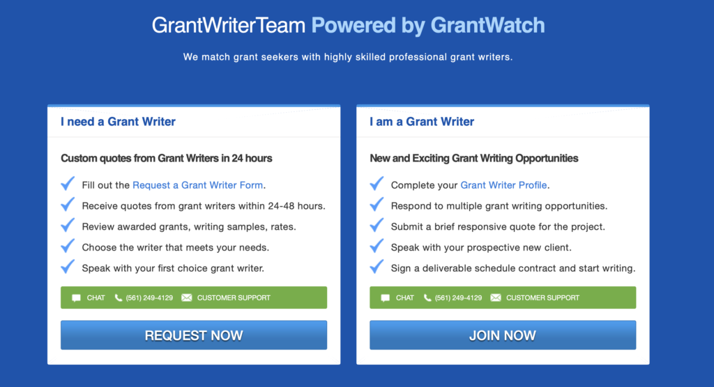 Screen shot of the grant writer team website bullets